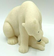 More details for fountasia sculptures 90354 small pair mother & baby polar bear sandstone figures