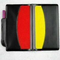 SchiedsrichterNeuSet schwarz Schiedsrichtermappe rote und gelbe Karte Super B7J3