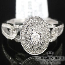 LADIES 10K WHITE GOLD .35CTW SOLITAIRE GENUINE REAL DIAMOND ENGAGEMENT RING BAND