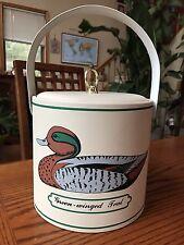 Mid Century George Briard Green Winged Teal Mallard Duck Padded Vinyl Ice Bucket
