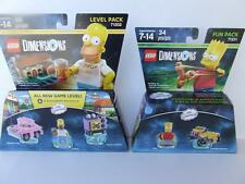* NEW * LEGO DIMENSIONS THE SIMPSONS 71211 71202 BART FUN HOMER CAR LEVEL PACKS