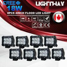 8X 4inch CREE LED Work Light Bar 18W Flood 4x4 Offroad Driving Lamp SUV 12V 24V