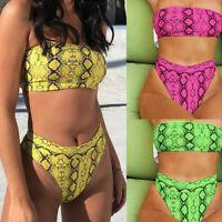 2PCS Fashion Womens Ladies Off-Shoulder Strap Snake Print Swimsuit Bikini Set AB