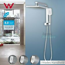 Wels 2 in 1 Square 8'' Twin Shower Head Handheld Diverter Gooseneck Wall Arm Set
