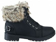 Ladies Faux Fur Ankle Boots Womens Warm Grip Sole Shoes Sizes 3-8 Black or Grey