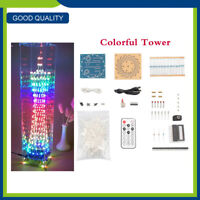 5V LED Light Cube DIY Electronic Tower Colorful LED Display Remote Control Kits