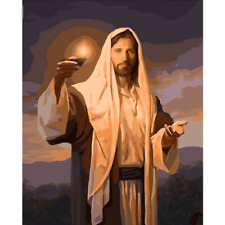 """Candle Light DIY Paint by Number Kit Jesus Christ Pictures Oil Painting 20""""x16"""""""