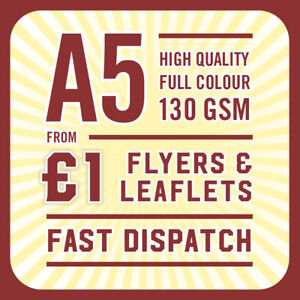 1000 Full Colour Printed Flyers / Leaflets - 130gsm Gloss A5