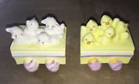 Vintage Schmid Ceramic Porcelain Easter Train Set Spring Chicks Peeps Lamb Eggs