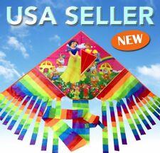 """66"""" Disney White Snow Kite Colorful Outdoor Toy Sport Fun Gift Free Line Ak81"""