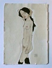 EGON SCHIELE -- A 1900s ORIGINAL SIGNED EXPRESSIONIST PAINTING FEMALE NUDE, GIRL