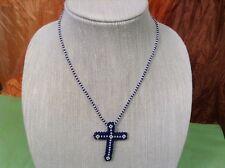 African-Arena Maasai Masai Handmade Blue White Beaded Long Cross Neckalce AA-31