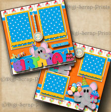 BIRTHDAY PARTY ~ 2 premade scrapbook pages paper piecing layout DIGISCRAP #A0099