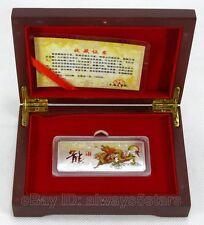 Rare 2012 Year of the Dragon Lunar Zodiac Colored Silver Bar Token With Box