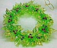 NEW Sparkling Gold Glitter Trim Green Wreath w/Red Berries  Christmas Ornament