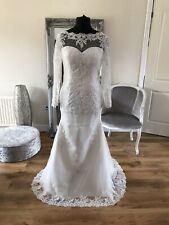 Bridal Gown/Wedding dress,Long Sleeve, illusion back,Lace, Ivory,Sz 16,Brand New