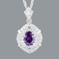 Oval Cut Purple Amethyst 18K White Gold Plated CZ Pendant Necklace Free Chain