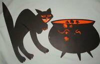 Vintage Halloween Witch's Cauldron Kettle Black Cat Paper Decorations