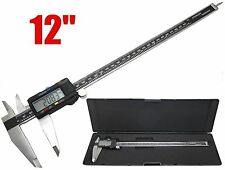 "12"" Digital Electronic Caliper Precision Stainless Inch/Metric LCD Dial w/ Case"