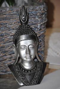Buddha Kopf Deko Statue groß Buddhakopf  Silber schwarz Buddha Figur 31 cm
