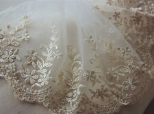 """2 Yards Lace Trim Ivory Tulle Exquisite Gold Embroidered Floral 6.29"""" width"""
