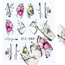 Nail Art Water Decals Stickers Transfers Spring Summer Flowers Floral (888)