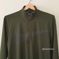 Nike Dri-FIT ELEMENT Half-Zip Swoosh Men's Running Top size Small Medium - Green