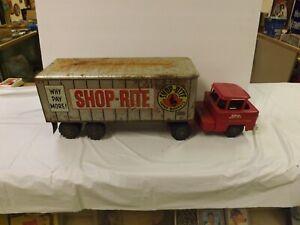 "Vintage Pressed Steel Marx Shoprite Toy Truck Advertising Tractor Trailer 24"""