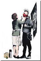 "BANKSY STREET ART CANVAS PRINT Mother Anachist 8""X 12"" stencil poster"