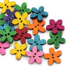 lot de 12 boutons bois fleurs 19 mm