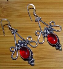 Red Garnet 925 Sterling Silver Overlay Girl,s Women,s Drop Dangle Earrings
