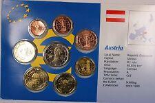 Austria Euro 8 Coin Uncirculated Set Mixed Dates 1999-2002