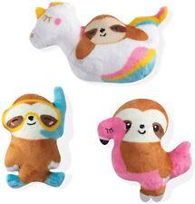 "Pet Shop by Fringe Studios-Summer Sloths, 3 Piece Dog Toy Set, 5""- Free Shipping"