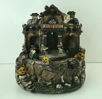 """Vintage Halloween Resin Haunted House Ghost Train Station 7.5"""" Free shipping"""