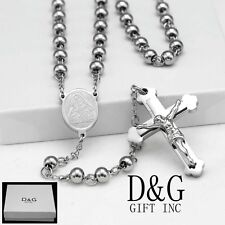 "DG 25"" Stainless-Steel,6mm Beaded Rosary VIRGIN MARY+ JESUS CROSS Necklace + BOX"