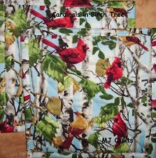 "T.T. ""Cardinals in Birch"" Set of 2 (8"") Handmade-Quilted-Insulated-Hot Pads"