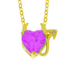14Kt Yellow Gold Plated Pink Sapphire & Diamond Devil Heart Pendant