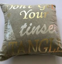 NEW Pier 1 Christmas Pillow Decorative Accent Gold Silver Taupe Funny 13x13