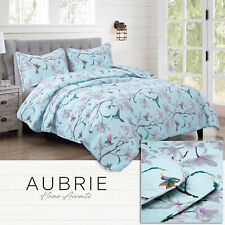 Twin, Full/Queen, or King Hummingbird Blossom Quilt Bedding Set, Blue Pink Green