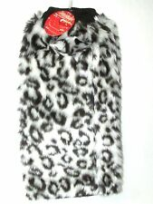NEW WOMANS Angelina Cheetah Print Faux Fur Leg Warmer Winter Boot Topper White