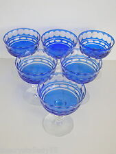 VAL ST LAMBERT  COBALT CASED CUT TO CLEAR CRYSTAL  CHAMPAGNE SHERBERT Set of 6