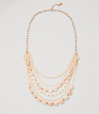 NWT Ann Taylor Loft Multistrand Strand Necklace $45 Rose Goldtone Beads 10