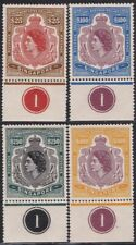 4 Straits Settlements 1952 QEII SINGAPORE Revenues Gummed Reproduction Stamp sv