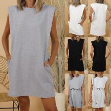 Women Holiday Sleeveless Shirt Dress Ladies Pocket Shoulder Pads Long Causal Top