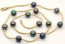 """14K Yellow Gold Black Pearl by the yard Snake Chain Choker Necklace 18""""  #20440"""