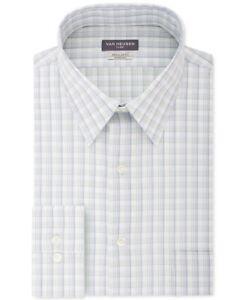 Van Heusen Mens Dress Shirt Classic Light Green Size 18 Plaid Stretch $55 110