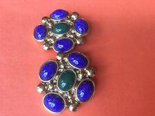 Big bold malachite lapis color costume clipon CRAFT earrings 46.7 grams