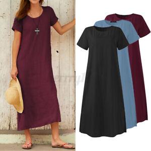 ZANZEA UK Women Short Sleeve O-Neck Cotton Pockets Casual Sundress Dress Ladies