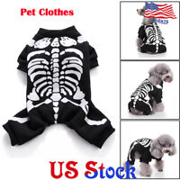 Pet Halloween Clothes Costumes Party Dress Dog Cats Horror Skeleton Clothing US