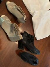 New listing TWO PAIR BALLROOM DANCE SHOES BOOTIE STYLE GOLD, BLACK SZ 38 (8)